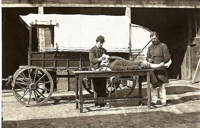 Army Medical Wagon. Civil War.