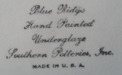 Blue Ridge Pottery Mark