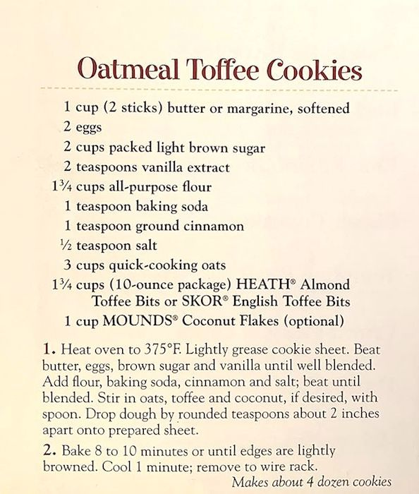 Homemade Oatmeal Toffee Cookies